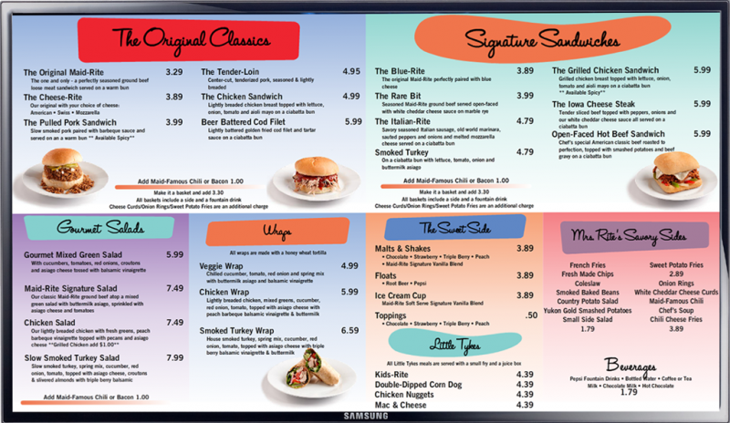 JustTouchSign Cafe Menu